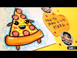 How To Draw A Cute Pizza Easy and Kawaii Drawings by Garbi KW