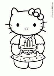 Sensational Idea Printable Birthday Coloring Pages Hello Kitty Happy For Kids Printables