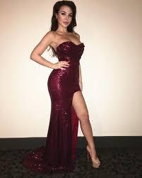 prom dress burgundy sequin prom dre slit prom dresses sequin