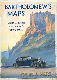 Poster Showing Edinburgh Castle And A Car On The Road In Front Advertising