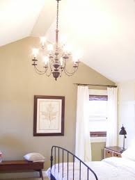 A Chandelier Might Be Nice In Simple Bedroom With High Ceiling