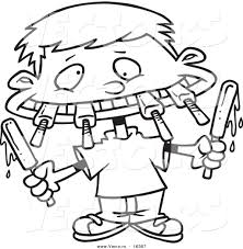 Vector of a Cartoon Boy Eating a Variety of Popsicles Outlined Coloring Page Drawing