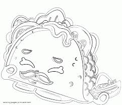 Shopkins Coloring Pages To Print Out Taco Terrie