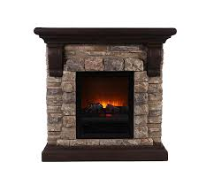Amazon OK Lighting Portable Fireplace with Faux Stone Dark