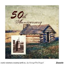 Rustic Western Country 50th Wedding Anniversary Invitation