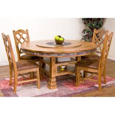 Sedona Wood Round Dining Table Chairs In Rustic Oak