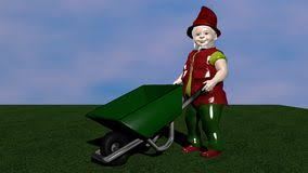 Garden dwarf with wheelbarrow From the side view on green lawn Great for gardening
