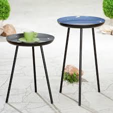 gilde beistelltisch tisch celeste schwarz hellblau höhe 49 cm rund ø 28 cm aus metall wohnzimmer