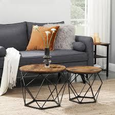 vasagle beistelltisch 2er set robust stahlrahmen für wohnzimmer schlafzimmer vintagebraun schwarz let040b01