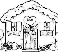 Gingerbread House Coloring Pages Free Printable Snowflake For Kids Download