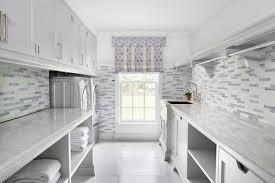 white and gray mosaic laundry room backsplash tiles design ideas
