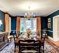 Navy Blue Dining Room Traditional With Dark Wood Metallic Curtains
