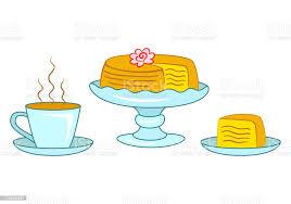 schicht kuchen auf blauen kuchenstand und scheibe kuchen auf dem teller und tasse heißen kaffee oder stock vektor und mehr bilder blau