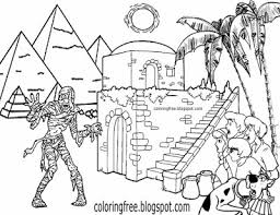 Primordial Goddess Ancient Egypt Pyramid Landscape Mummy Printables Scooby Doo Monster Coloring Page