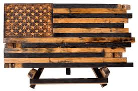 Barrel Wood American Flags