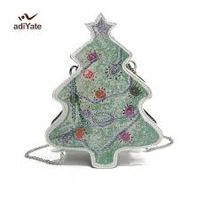 ADIYATE Pu Crossbody Bag Women For Party Winter Ladies Cute Christmas Tree Shape Tote Girls