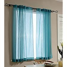 Blue Crushed Voile Curtains by Amazon Com Nicetown Sheer Curtains 63 Long Pair Of Voile Drapes