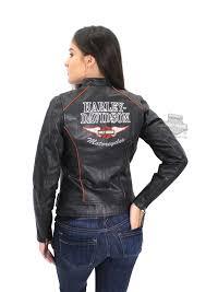 harley davidson womens epoch winged b u0026s black leather jacket