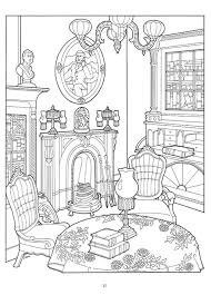 The Living Room In Victorian House Difficult Coloring Pages