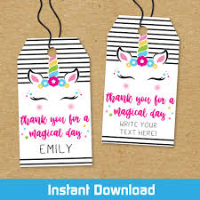 Printable Magical Mod Unicorn Birthday Favor Tags Instant Download