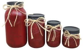 Barn Red Painted Mason Jar Canisters 4 Piece Set Farmhouse Kitchen