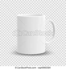 Realistic White Cup Isolated On Transparent Background Vector Template For Mock Up