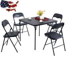 5 PCS Black Folding Table Chair Set Kitchen Dining Room Rustic ... Pub Table And Chair Sets House Architecture Design Fniture Design Kids Folding Childrens Chairs Small Outdoor Camp Portable Set W Carrying Bag Storedx Ore Intertional Children39s Camping Helinox 35 Fresh Space Saving Collection Wooden Kidu0027s Tables Fniture The Home Depot Inside Fold Up Children Inspired Rare Vintage 1957 Leg O Matic 4 Ideas Solid Trestle 8 Folding Chairs Set Best Price In Barnsley Uk