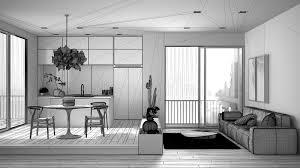 wohnzimmer mit sofa küche esstisch topfpflanzen