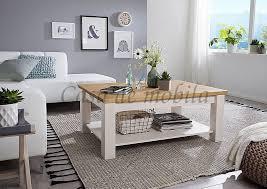 couchtisch 110x45x75cm flair kiefer 2farbig weiß eichefarben casade mobila
