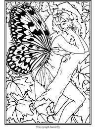 Fairy Coloring Page From Butterfly Fairies Stained Glass Book Dover Publications