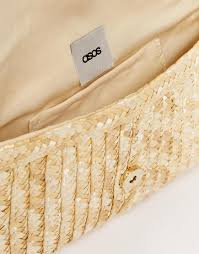 asos straw cat clutch bag in yellow lyst