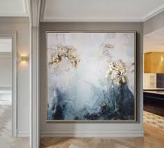 großes ölgemälde original leinwand blattgold malerei