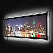 led panorama leuchtbild wohnzimmer acrylglas wand bild beleuchtetung mit fernbedienung nachtlicht beleuchtetes wandbild 100x40 new york skyline