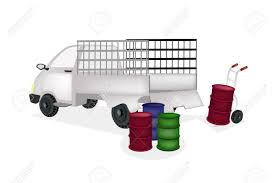 Hand Truck Or Dolly Loading Oil Drums Or Oil Can Into A Pickup ...