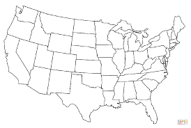United States Map Coloring Page Of The America Free Printable Book