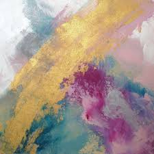 Large Pink And Gold Painting Blue Silver Metallic Abstract Metal