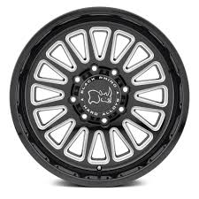 100 8 Lug Truck Wheels BLACK RHINO OCALA Gloss Black With Milled Spokes Rims