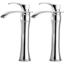 auralum 2er wasserhahn bad chrom einhebelmischer waschtischarmaturen mit hoher wasserfall auslauf für badezimmer waschbecken