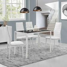 en casa esszimmer set set 5 tlg bestehend aus 1 tisch 4 stühlen bergen esstisch 4 stühle in verschiedenen farbkombinationen
