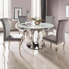 Orion White Round Dining Table And 4 Silver Nicole Chairs