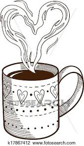 Clipart Of Coffee Cup With Heart Shaped Steam K17867412
