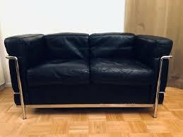 original cassina le corbusier lc2 zweisitzer sofa in schwarz