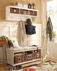 Furniture Captivating Pottery Barn Entryway Of Rattan Storage Baskets Near To White Coat Rack Stand