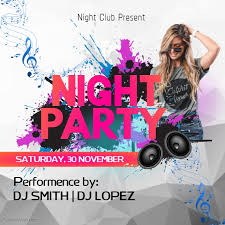 Night Party Instagram Template Bonfire Poster