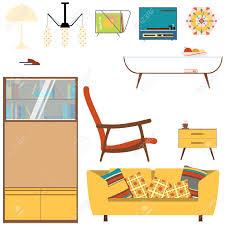 set wohnzimmer wohnzimmer mit gelben sofa bücherregal und sessel im stil der 70er jahre