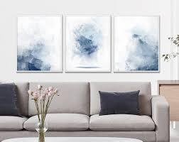 living room poster set set of 3 watercolor set blue set of 3 3 poster set printable wall watercolor set printable canvas set
