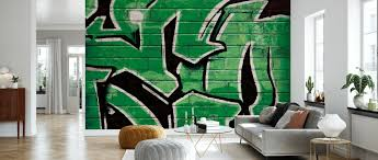 graffiti brick wall green