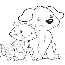 Coloring Pages Of Dogs And Cats Printable Free Kittens Together Cat Dog Full Size