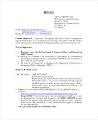 PhD Student Computer Science Resume