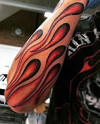 Unique Flames Tattoo On Arm Sleeve